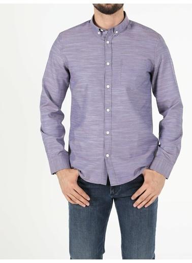 Colin's Slim Fit Shirt Neck Erkek Mor Uzun Kol Gömlek Mor